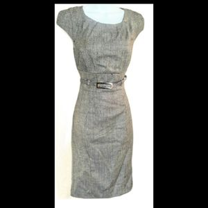 Le chateau gray and blue wool belted dress